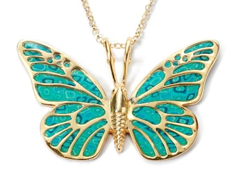 Butterfly Necklace, Handmade Jewelry with Turquoise Polymer Clay, Gold Plated Silver, Monarch Butterfly, Unique Jewelry, Gifts for Her