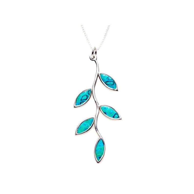 5a1e83f747cb Collar con dije de rama de olivo y hojas turquesa Joyas de