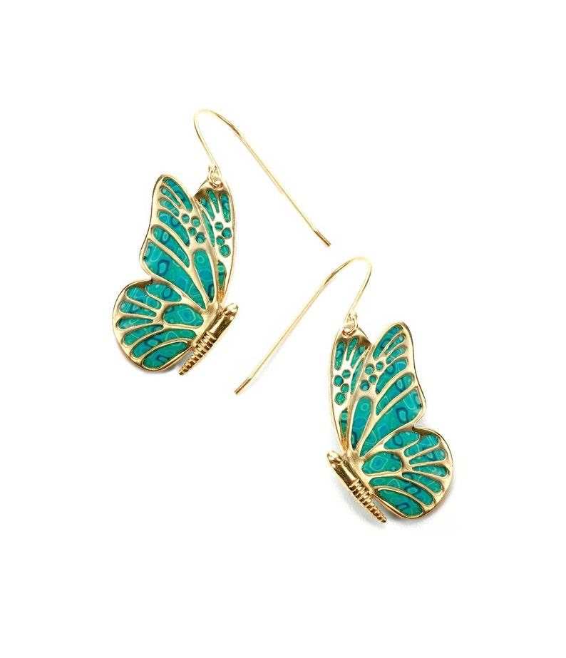 ddb5cf801a1a Aretes de mariposas turquesa Pendientes de oro y arcilla