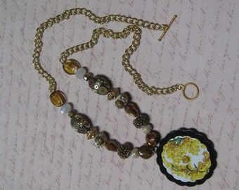 Yellow Flower Pendant Beaded Chain Necklace