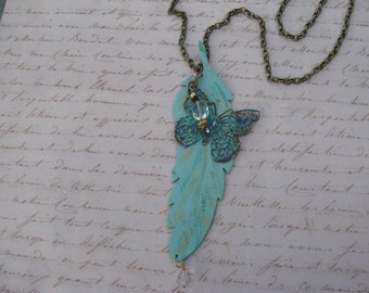 Leather Feather and Butterfly Pendant Necklace