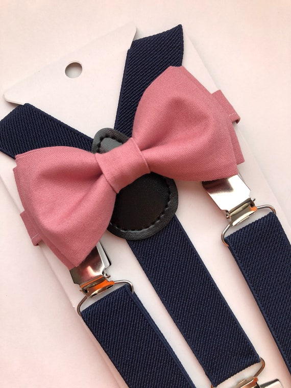 149f1c1b410 Dark Rose Bow Tie and Navy Blue Suspenders m  Two Piece Set.