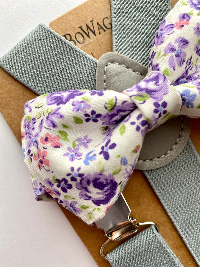 AdultsKids Lilac Easter bow tie Easter Floral Light Purple Bow Tie and Suspenders Sets Easter Suspenders Set.