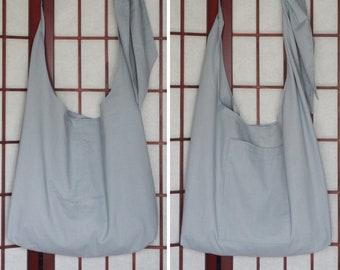 ae614e8bb88112 Lightweight Cross Body Tote with Pocket, Recycled Fabric Hobo Bag, Plain Handmade  Crossbody, Unisex Hippie Boho Bag with Adjustable Strap