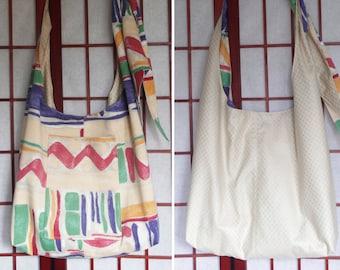 Large Blue Cross Body with Pocket Unisex Hobo Sling Bag Handmade from Recycled Fabric Adjustable Crossbody Hippie Boho Bag