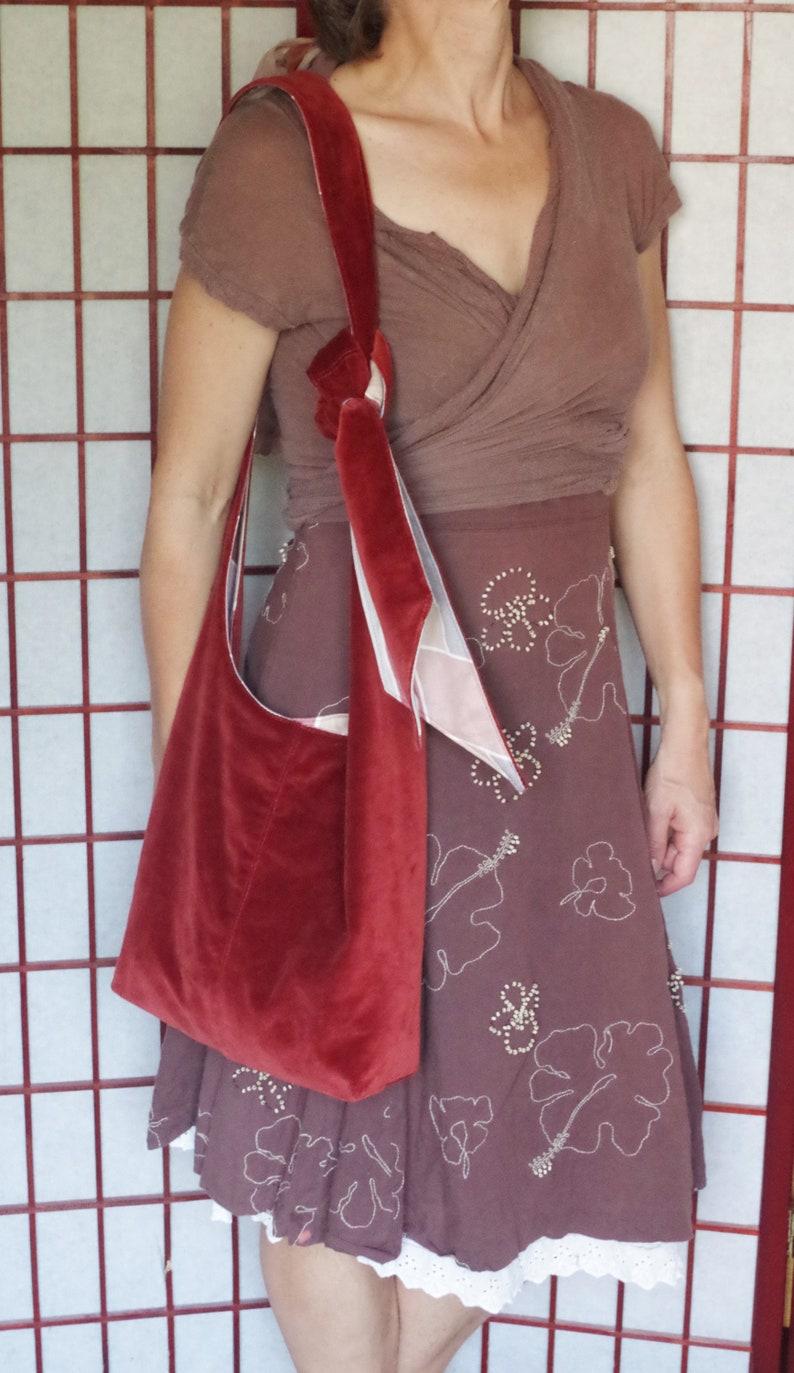 Velvet Hobo Cross Body Bag Handmade Bohemian Tote with Adjustable Strap Recycled Fabric Rust Tote Ecofriendly Reversible Hippie Boho Bag