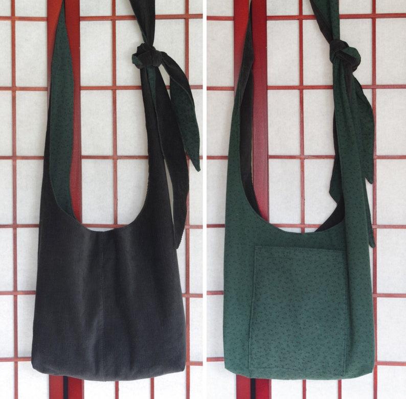 Ecofriendly Hippie Boho Sling Bag from Recycled Fabric Adjustable Strap Handmade Cross Body Black Corduroy Crossbody Hobo Bag