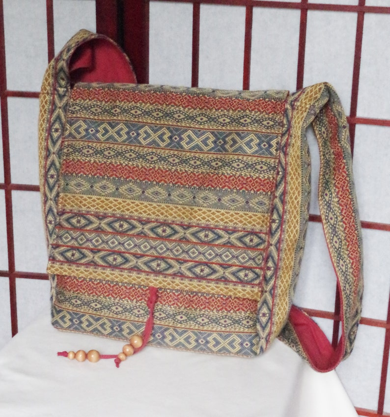 781cb7d329cc Handmade Slouchy Messenger Bag Recycled Fabric Cross Body