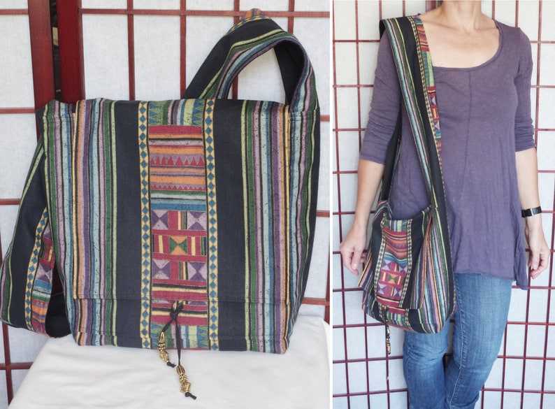 a36f04a14421 Bohemian Cross Body Hippie Bag from Recycled Fabric Boho