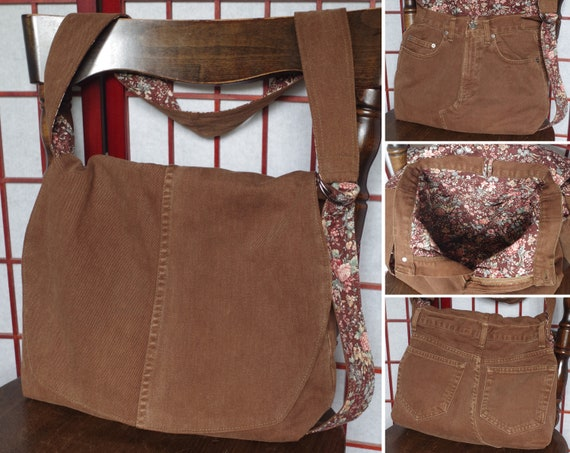 0f79b2c9ae47 Upcycled Jeans Messenger Bag Brown Recycled Denim Crossbody