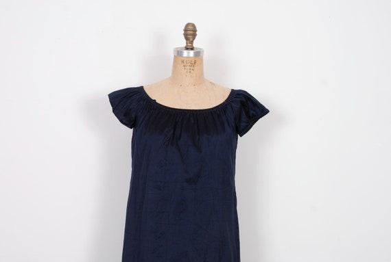 Navy Silk A line Dress