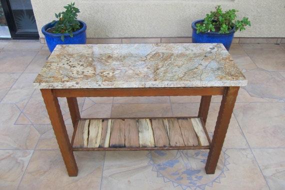 Granite Table, Mesquite Wood Table, Sofa Table, Granite Furnature, Rustic  Table, Hammered Edge Steel Frame Stone Table