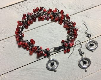 7 Inch Red Beaded Chain Bracelet with Beaded  Silver Oval Charm and Matching Earrings