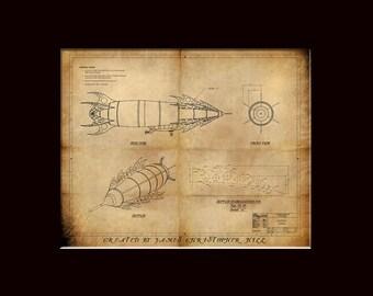 19th Century Zeppelin -  Steampunk Blueprints