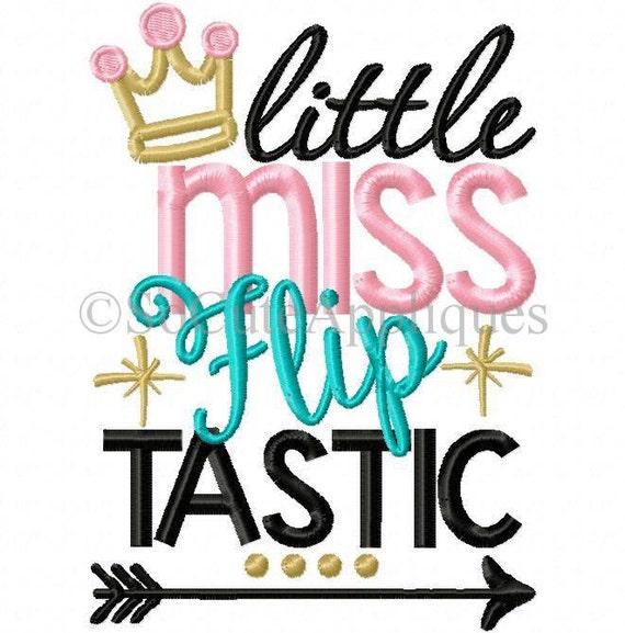 Little Miss... Flip Tastic!!! Serviette brodé tissu de chemise/Body/rot/à la main!