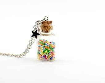 Colorful sprinkles jar necklace - colourful candies in a jar miniature - glass bottle necklace - miniature bottle - glass vial pendant