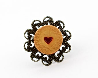 Sweet jam cookie ring - linzer cookie ring - polymer clay miniature cookie