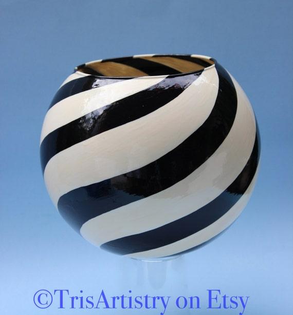 Large Black White Swirl Design Glass Globe Vase Etsy