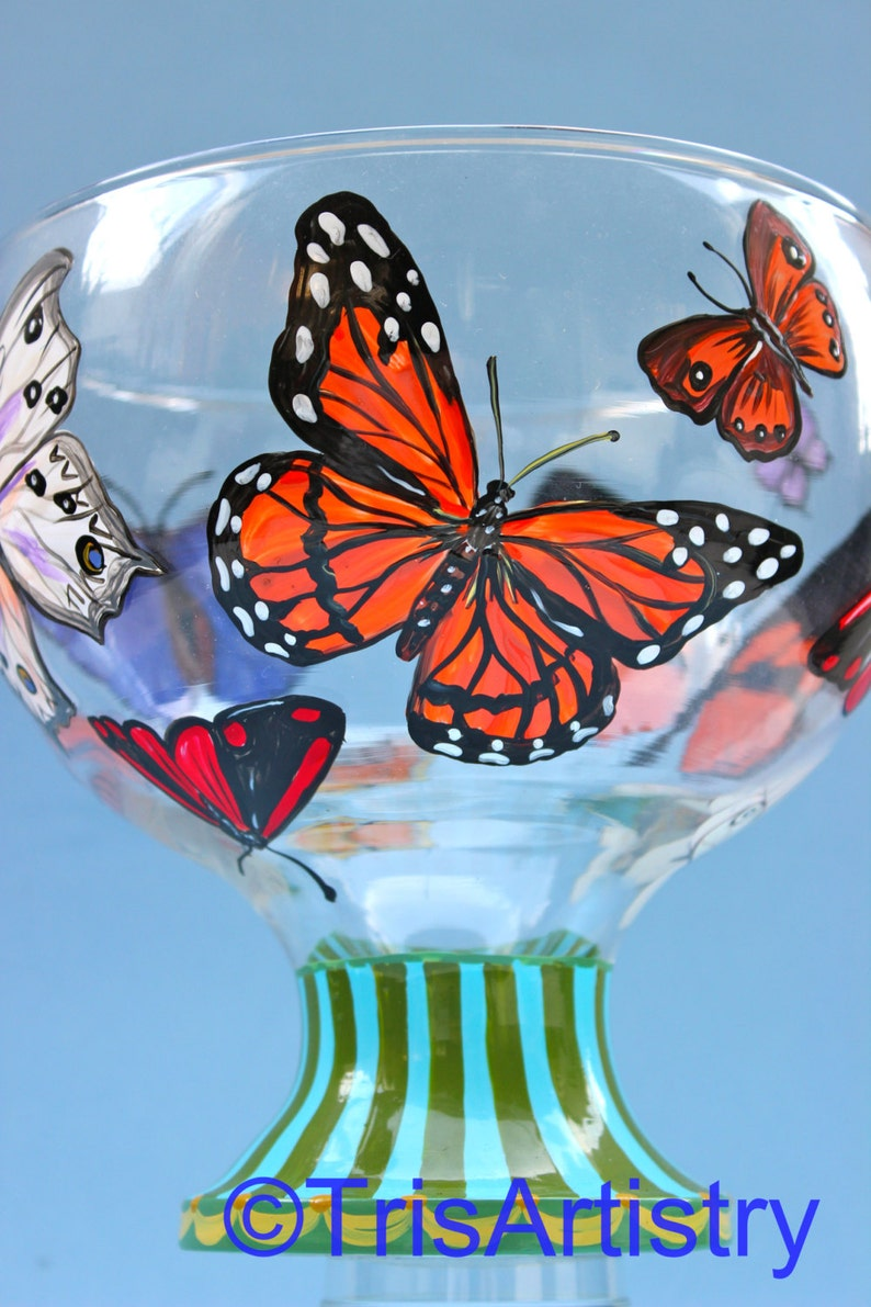 Hand Painted ~ Butterfly ~ Butterfly Center Piece ~  Pedestal ~ Bowl Vase ~ Hand Painted Butterfly Pedestal Bowl Vase ~