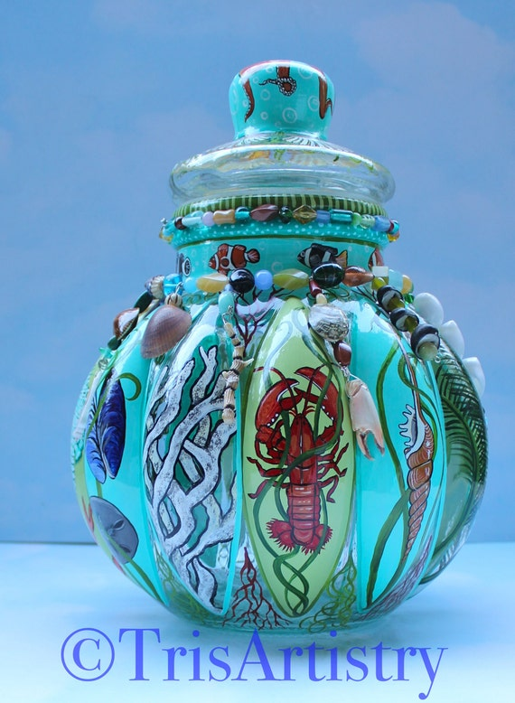 Large Hand Painted Italian Glass Under The Sea Cookie Jar Etsy
