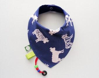 Blue Baby Boy Bib With Cow Drawings Teething Bib with Teething Accessories