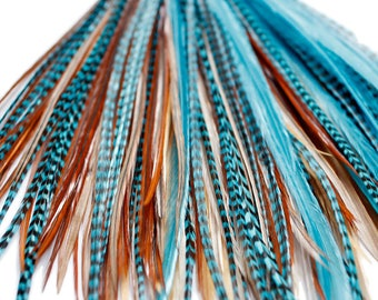 20 Real Feather Hair Extensions : B-Grade Turquoise Naturals + Rings/Loop