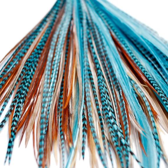 20 Extensions de cheveux plume véritable: Grade B Naturals Turquoise + anneaux/boucle