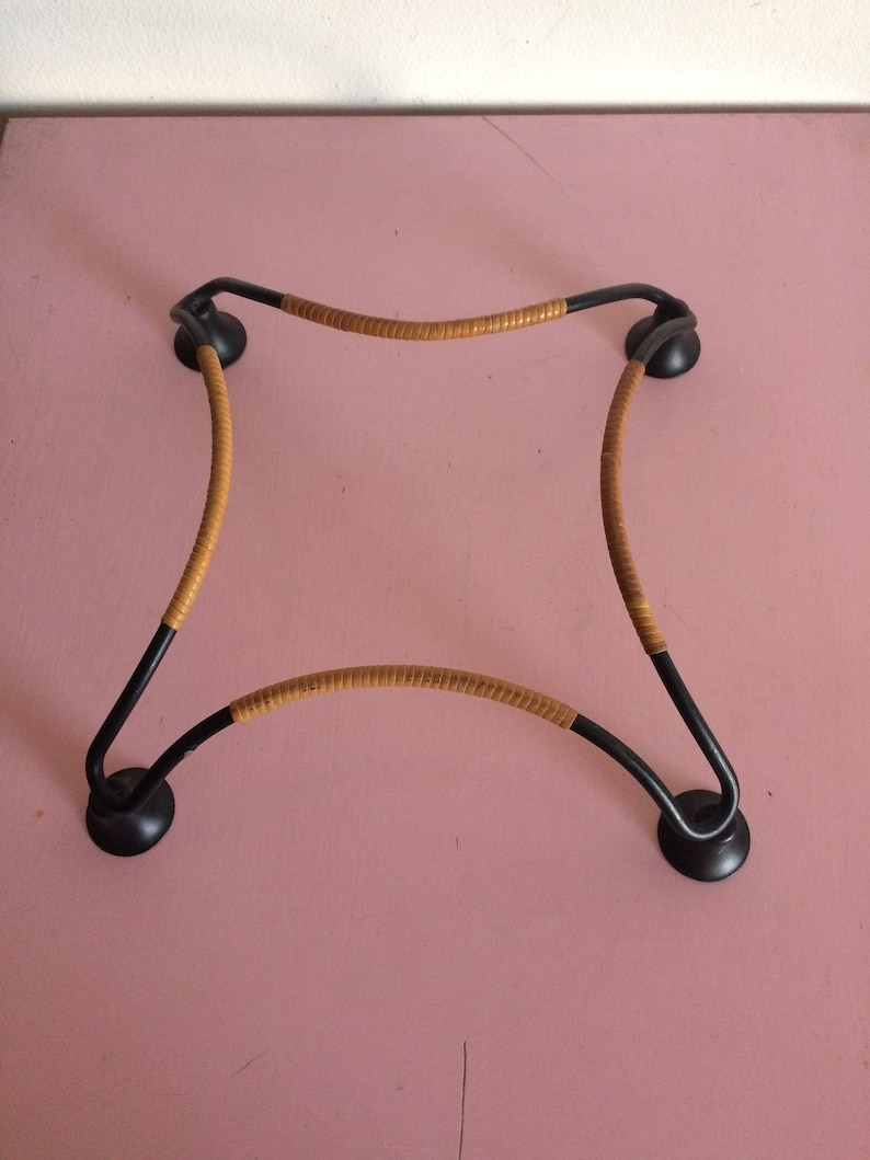 Vintage Wrought Iron Candle Holders with Raffia