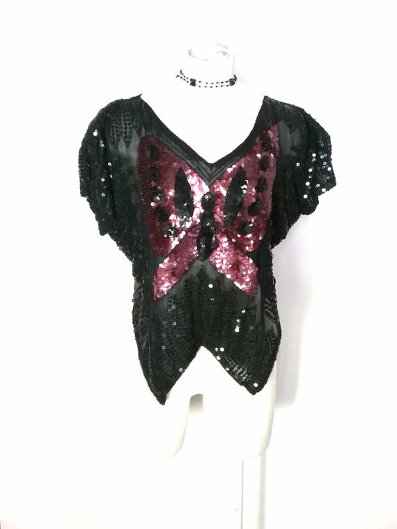 1970s Sequinned Butterfly Top