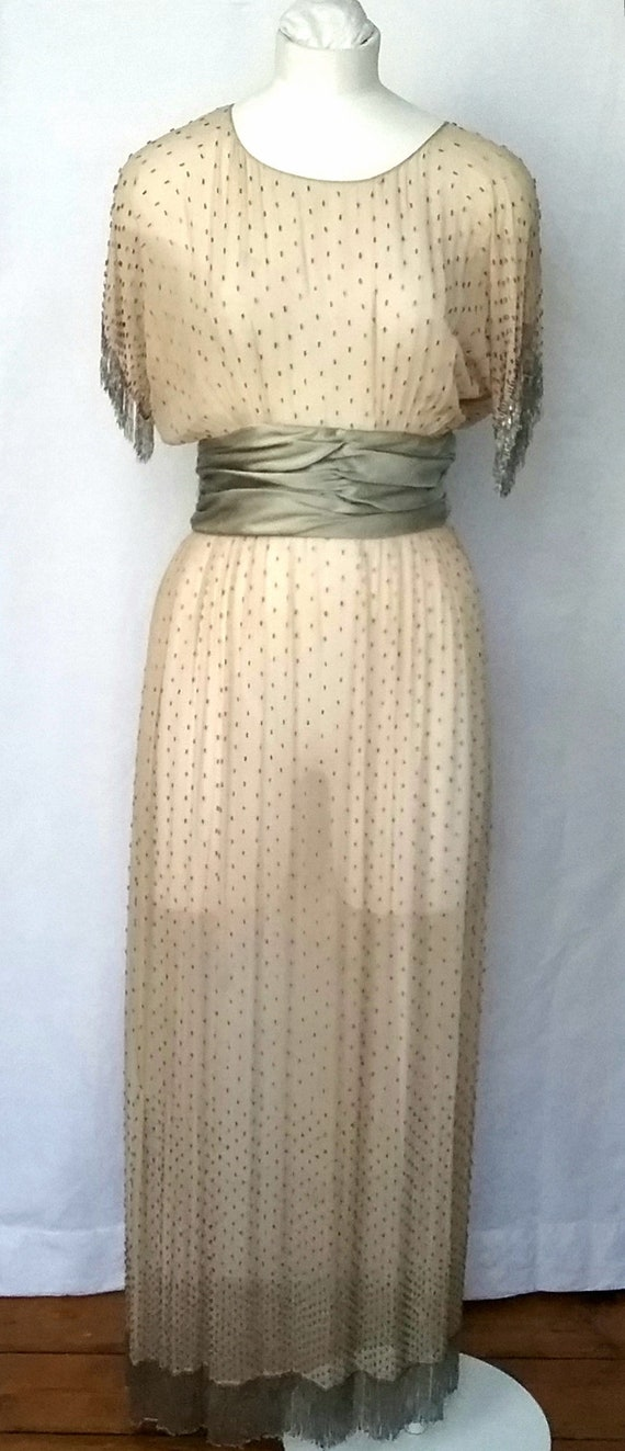 1920s silk Chiffon Beaded Dress with Fringing - image 2