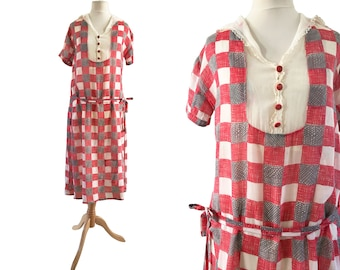 1920s Red Check Cotton Day Dress