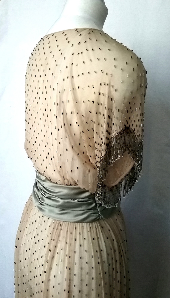 1920s silk Chiffon Beaded Dress with Fringing - image 3