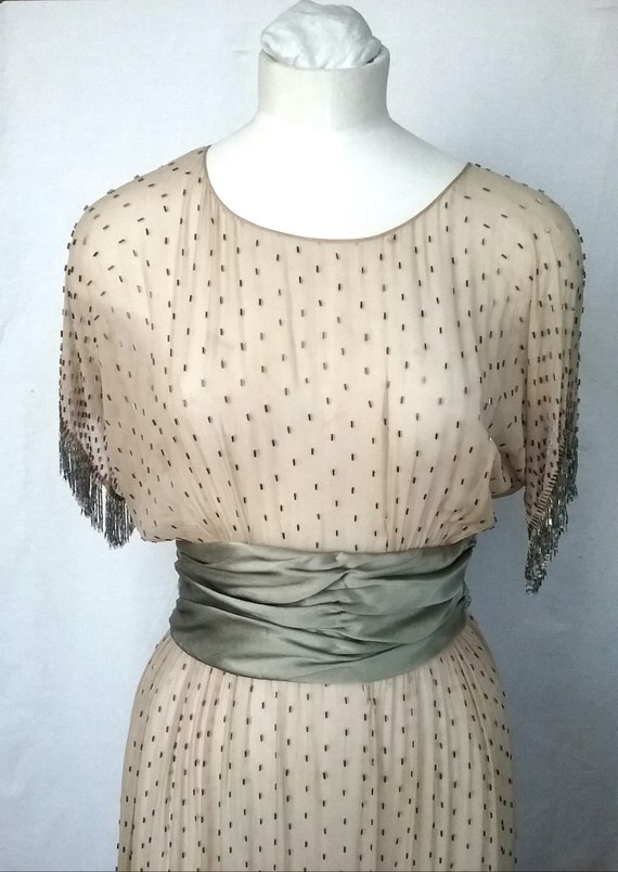 1920s silk Chiffon Beaded Dress with Fringing