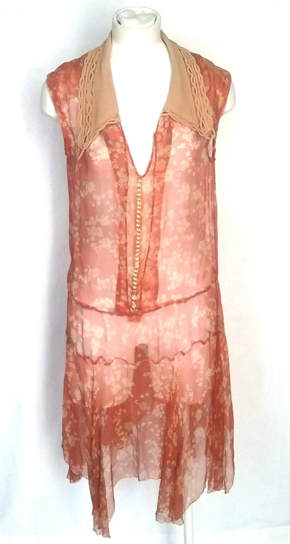 1920s Print Chiffon Dress