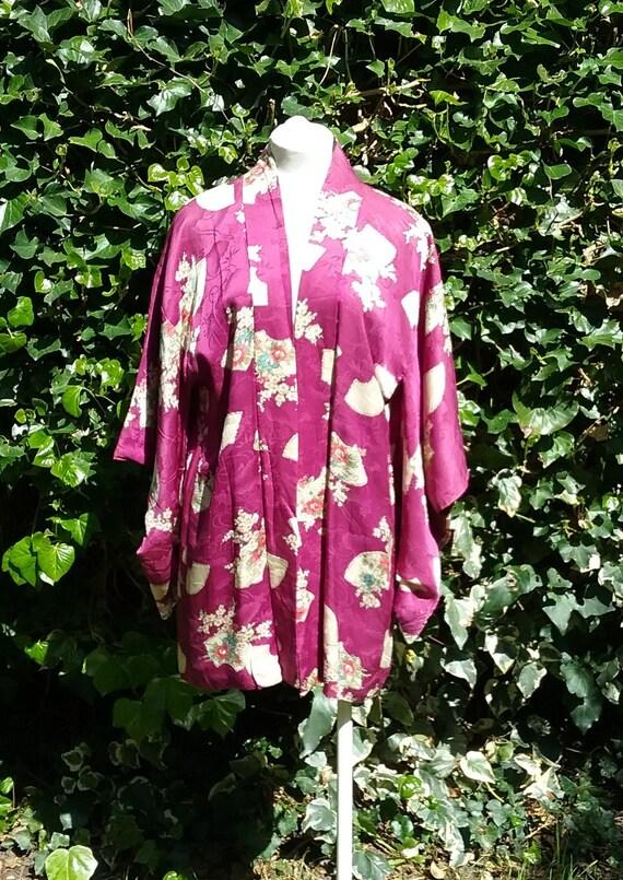1940s Print Silk Kimono
