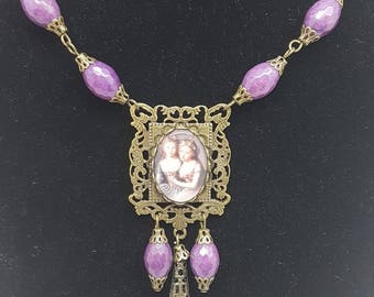Necklace ,semi precious stone,  Vintage style, Rococò, Marie Antoinette, 18 century jewelry