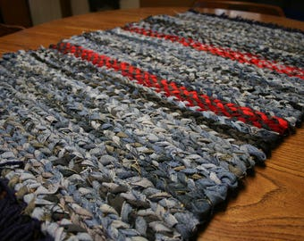 Rag Rug Twined Rag Rug Country Style Rag Rug Hand Woven Denim Rug Cotton Area Rug Twined Rugs Rag Rug Teppich Sisal Handmade Loomed Rugs