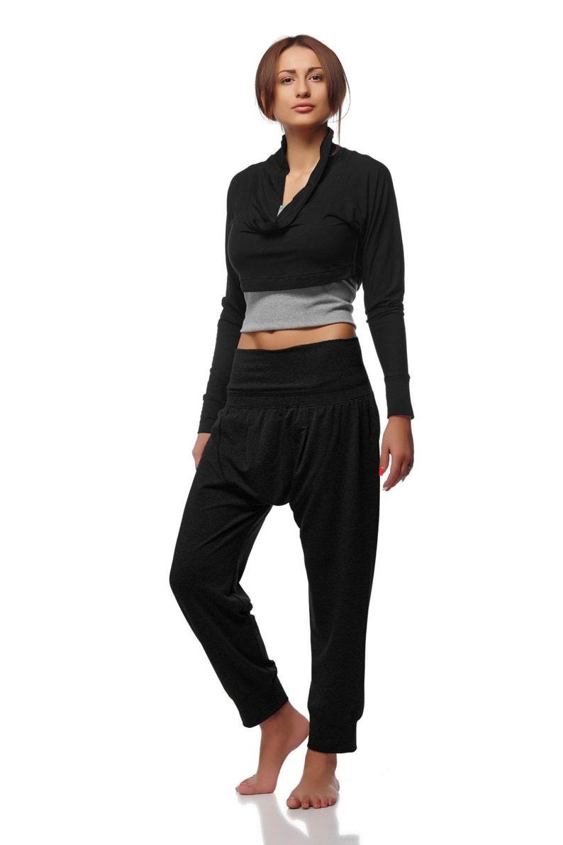 1d2d3629e9559e Dropped Crotch Yoga Cotton Pants Black Harem Pants Loose