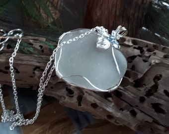 Sea glass Necklace white Seaglass & blue swarovski crystals for that something blue beach wedding gifts for her from the sea Ocean Glass