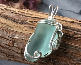 Sea glass Pendant gifts for her under 20 dollars.  Aqua blue wire wrapped sea glass authentic ocean surf tumbled sea glass