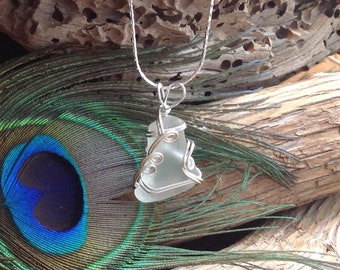 Wire Weaved White Sea Glass Necklace - Prince Edward Island ocean wire wrapped sea glass