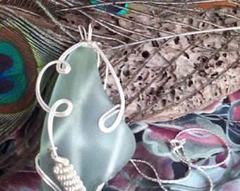 Amazing Large Sea Glass & Bubble Necklace wire designed and Wire Wrapped
