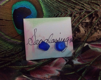Earrings Cobalt Blue Sea Glass
