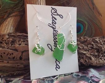 Sea Glass Jewellery Set - SeaGlass Necklace, Earrings - Green Sea Glass Genuine PEI Ocean SeaGlass - Mermaid's Tears - Bridesmaid's Gifts