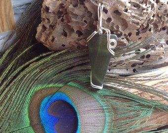 Wire Wrapped Necklace - Sea Glass - Dark Green Seaglass