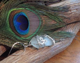 Bubbles In White Sea Glass Necklace - Prince Edward Island ocean sea glass