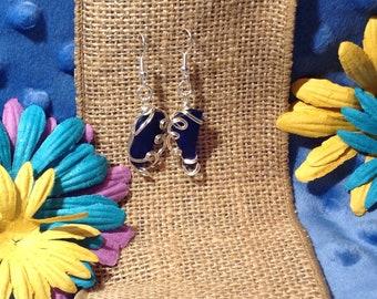 Blue Sea Glass Earrings - cobalt blue sea glass - wire wrap seaglass - Brides something blue