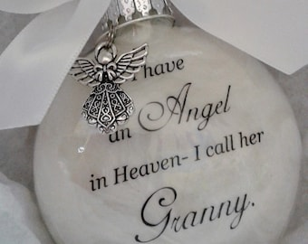 Grandmother Memorial Ornament w/Charm Angel in Heaven I call her Granny- Grandparent Loss Gift- Sympathy In Memory Keepsake Christmas Bauble