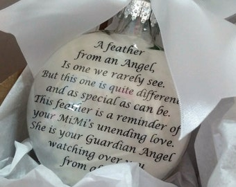 In Memory of MIMI Memorial Christmas Ornament Feather From a Guardian in Angel Heaven Sympathy Gift Remembrance of Grandparent Loss Grandma