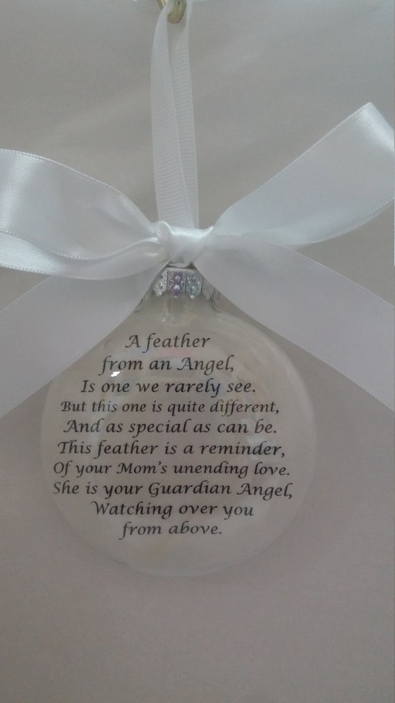 This Feather is a Reminder Memorial Christmas Ornament Personalized Keepsake In Memory of Mom